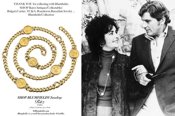 5e7ae5082f18a BLUMFIELDS:1975s Bulgari Gourmette Sautoir was a favorite of Taylor who  wore it the day of her engagement to 6th husband , John Warner annouced in  1976.